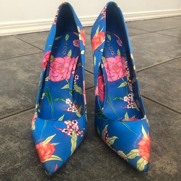 Aldo Blue Flower Heels